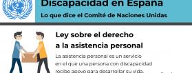 Discapacidad en España. Lo que dice Naciones Unidas. Ley sobre el derecho a la asistencia personal.