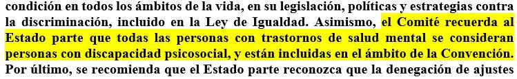 texto subrayado del informe en castellano
