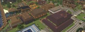 ciudad en el videojuego minecraft