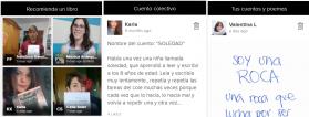 captura de pantalla de la app con cuentos y libros recomendados por participantes