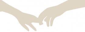 una mano coge el dedo de otra mano, ilustración