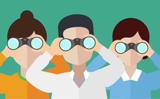 Personas mirando por prismáticos
