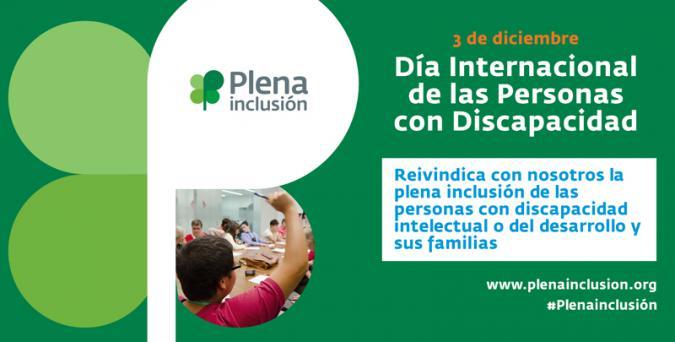 Cartel de Plena inclusión por el dia 3 de diciembre