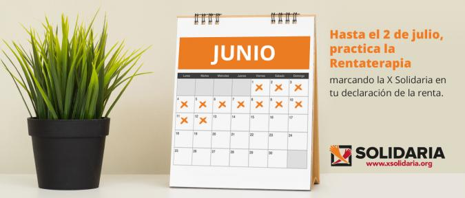 Imagen de un calendario de junio con el logo de la x solidaria