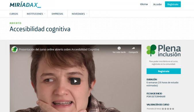 Portada de la web del mooc de accesibilidad cognitiva