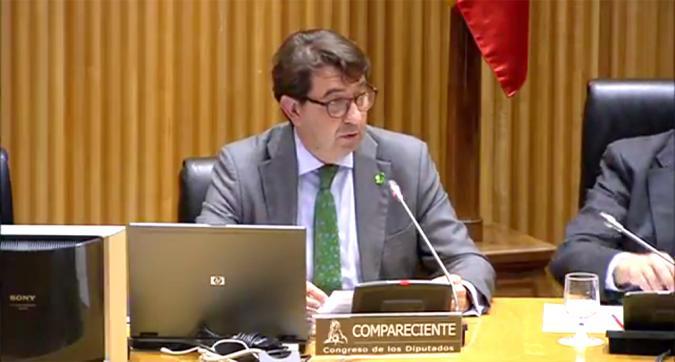 Santiago López en una comparecencia en el Congreso