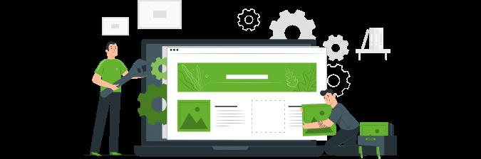 ilustración personas trabajando en una página web
