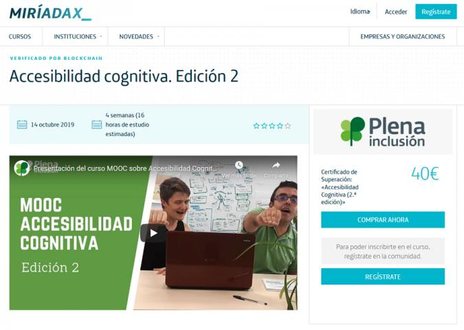 Pantallazo del MOOC de accesibilidad en la web de Miriadax