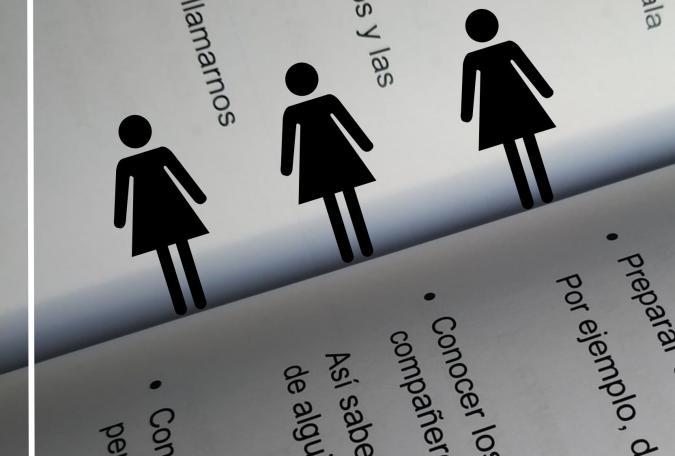 iconos de mujer sobre un libro