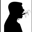 silueta de una persona. Su boca parece una pistola y dispara una bala