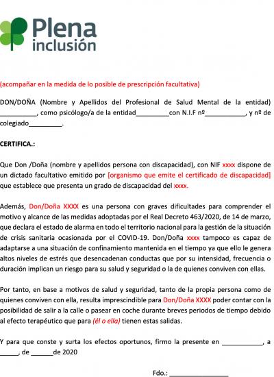Portada del Modelo de informe psicólogo para salidas acompañadas - covid 19