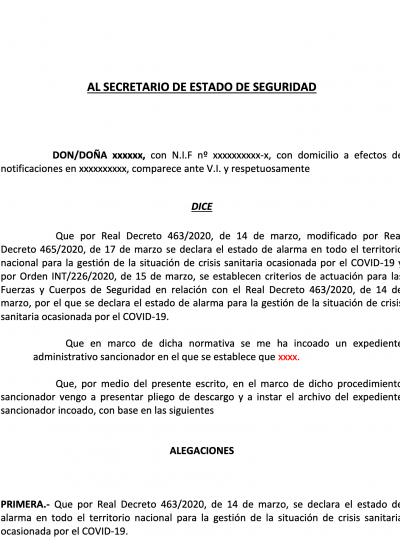 Portada del Modelo de escrito alegaciones por infracción limitación circulación - covid 19