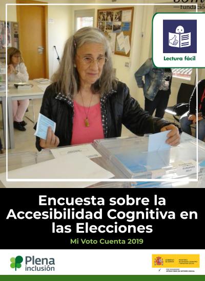 Una mujer mete un sobre en una urna. Logo lectura fácil, Plena inclusión y Ministerio de Sanidad. Encuesta sobre la Accesibilidad Cognitiva en las Elecciones. Mi voto cuenta 2019