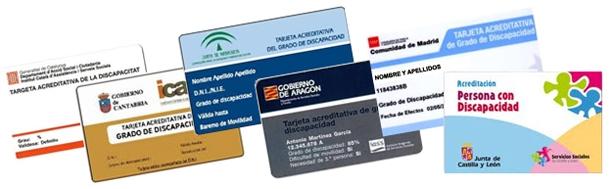 varios certificados y tarjetas de discapacidad