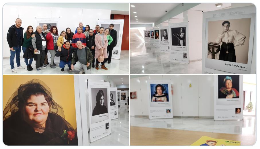 fotos de la exposición y grupo de personas