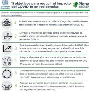 Ver 11 objetivos para reducir el impacto del COVID-19 en residencias