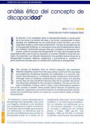 Ver Análisis ético del concepto de discapacidad