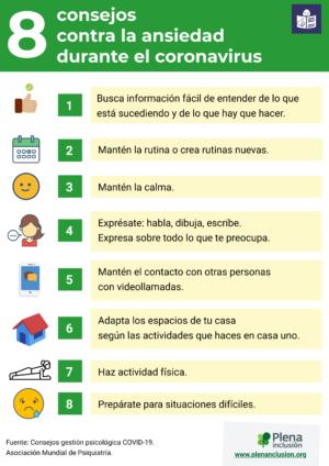 Ver Infografía. 8 consejos contra la ansiedad durante el coronavirus