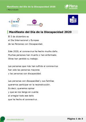 Ver Manifiesto del Día de la Discapacidad 2020