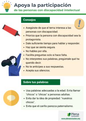 Ver Infografía. Apoya la participación de personas con discapacidad intelectual