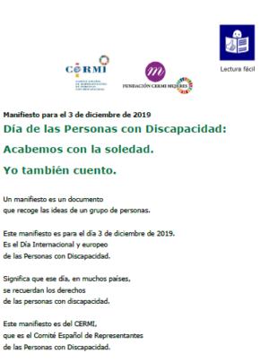 Ver Manifiesto para el 3 de diciembre de 2019 Día de las Personas con Discapacidad