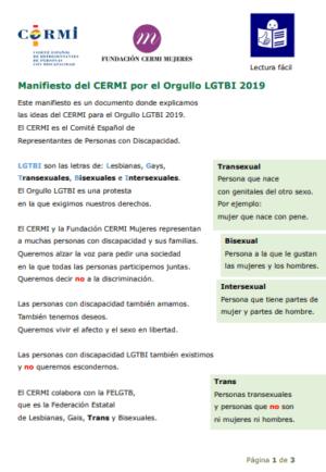Ver Manifiesto del CERMI por el Orgullo LGTBI 2019. Lectura fácil