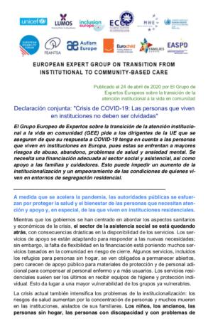 Ver Declaración conjunta: «Crisis de COVID-19: Las personas que viven en instituciones no deben ser olvidadas»
