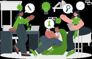 ilustración personas con ideas