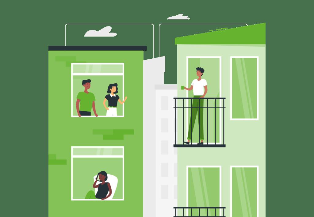ilustración vida en la comunidad edificios