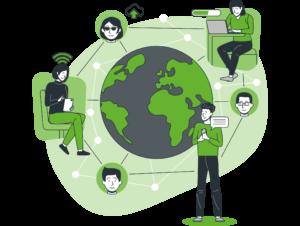 ilustración transformación digital ancha