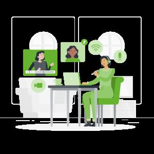 ilustración formación conocimiento online