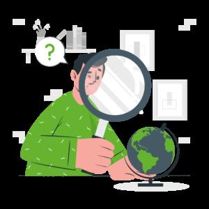 ilustración accesibilidad persona con lupa e interrogación mirando un globo terráqueo