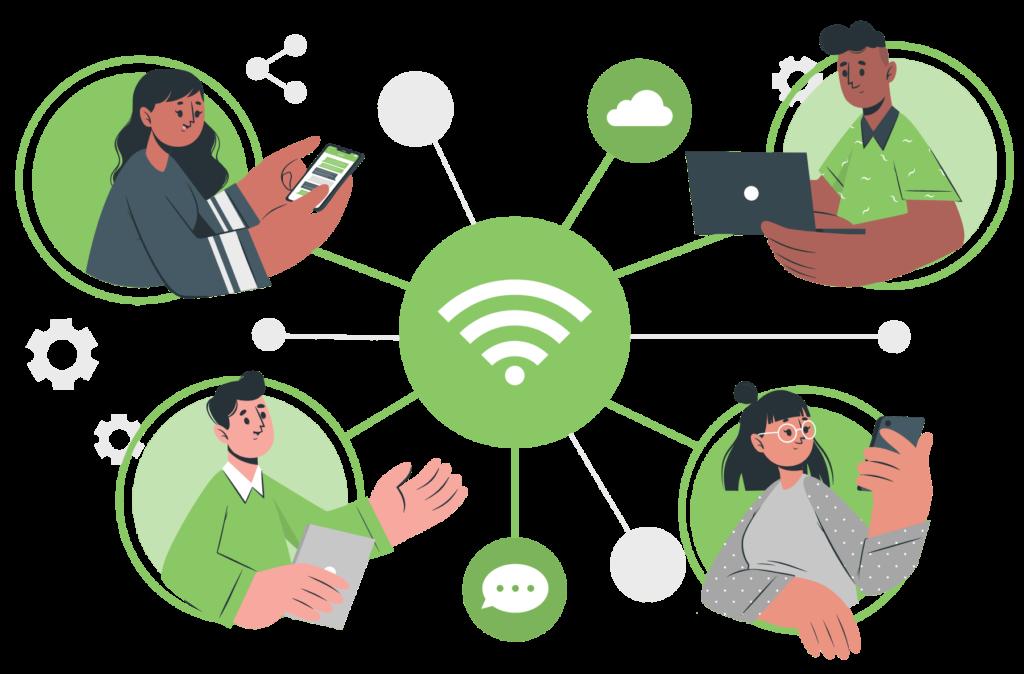 ilustración redes sociales conexión