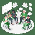 ilustración asociación grupo terapia