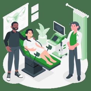 ilustración mujer hospital operación aborto esterlización