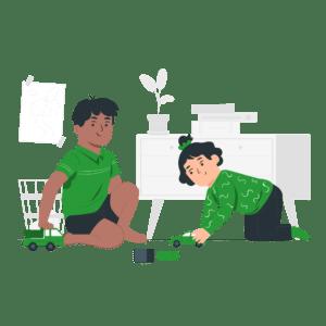 ilustración niñas niños juego jugando