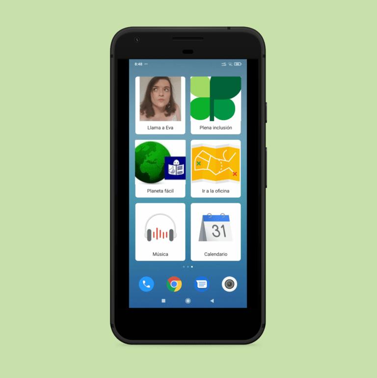 ilustración teléfono inteligente con iconos grandes de web plena, planeta fácil, mapa, música, son action blocks