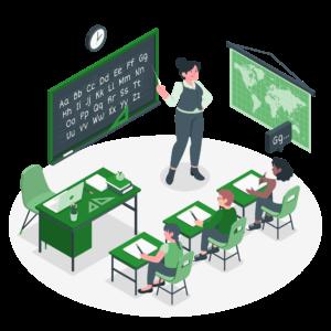 ilustración educación colegio escuela aula