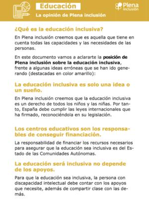 Ver Educación: la opinión de Plena inclusión