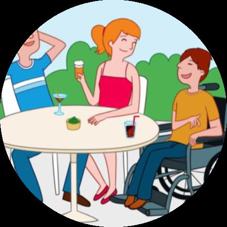 teinfohermanos círculo personas mesa silla de ruedas