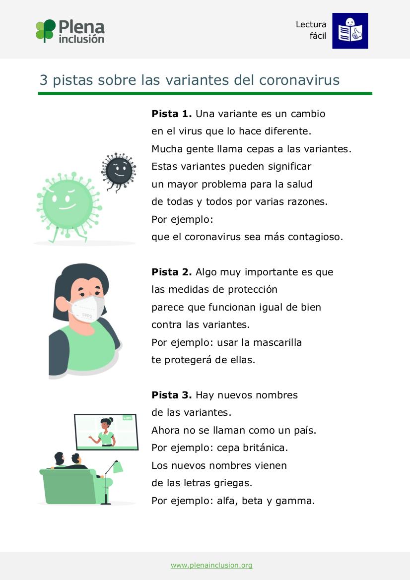 Plena inclusión. 3 pistas variantes coronavirus. Lectura fácil