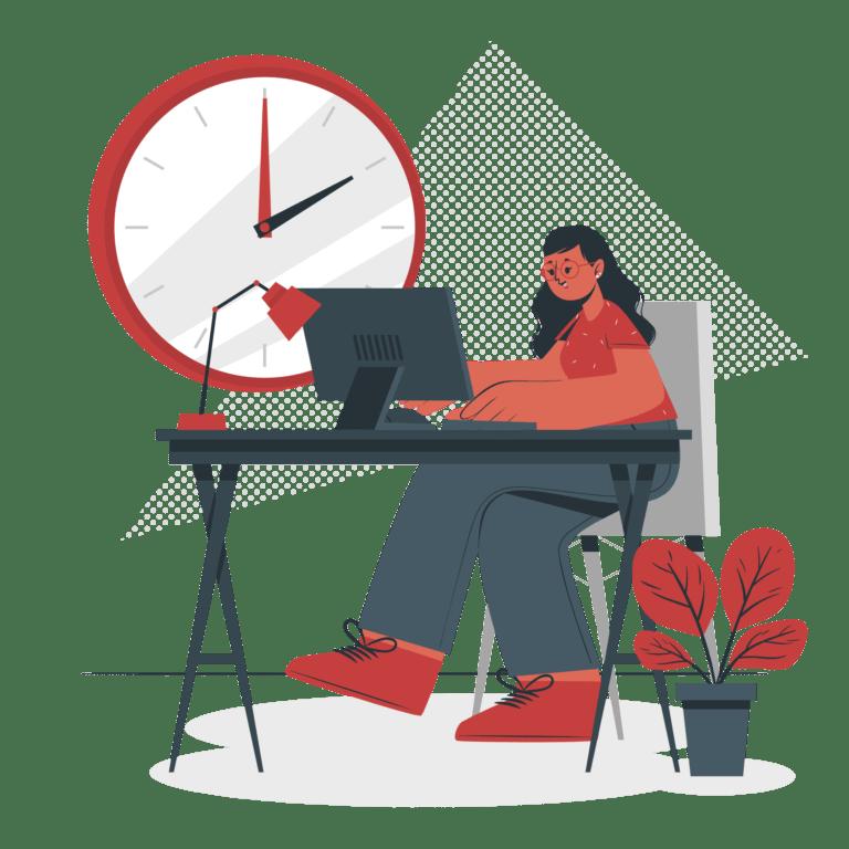 ilustración mujer ordenador trabajar tecnología conexión