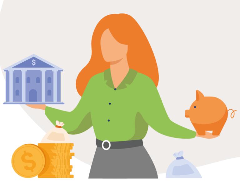 ilustración mujer banco dinero hucha