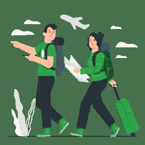 ilustración vacaciones viaje avión