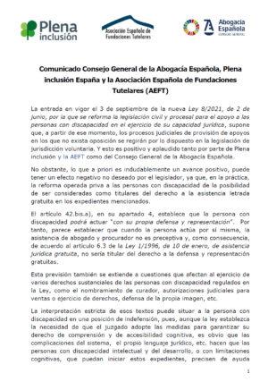 Ver Comunicado del Consejo General de la Abogacía Española, Plena inclusión España y la Asociación Española de Fundaciones Tutelares (AEFT)