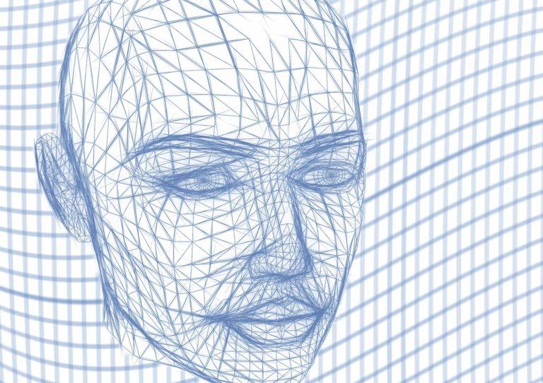 ilustración persona robot grid
