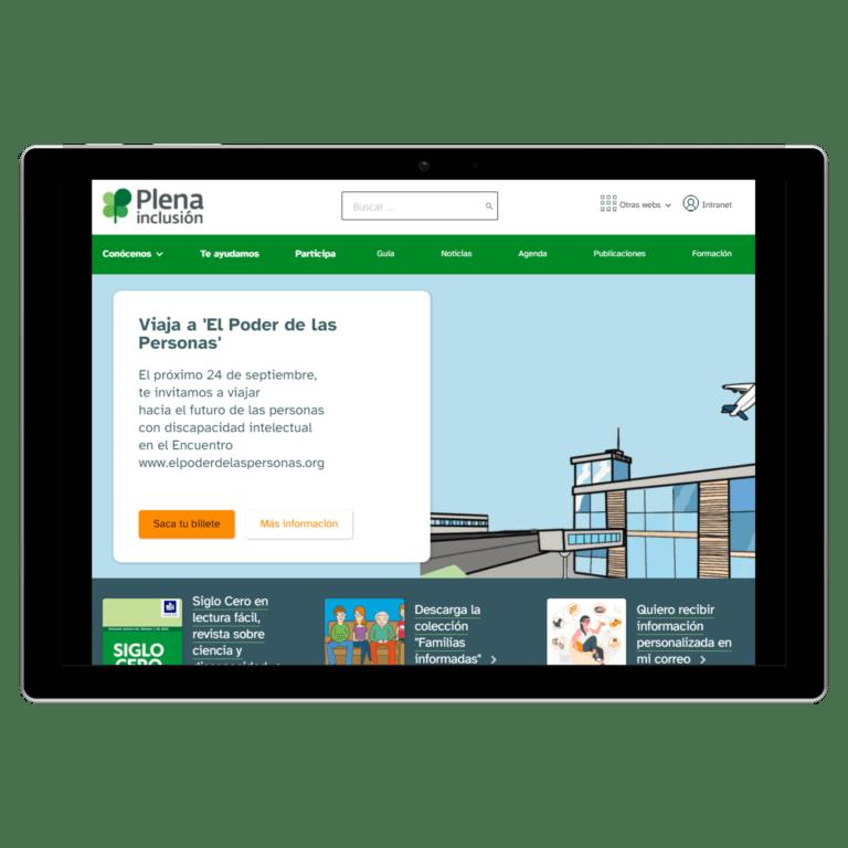 tablet con la web de plena inclusión captura