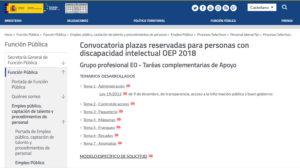 Web de las oposiciones
