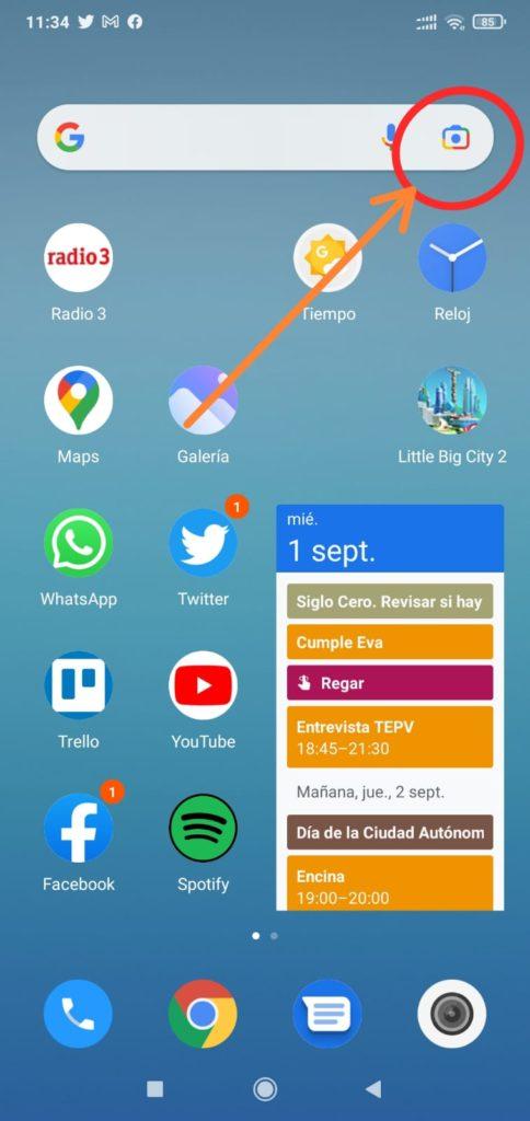 google lens captura icono